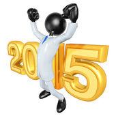 Happy new year golden businessman 2015 — Stock Photo