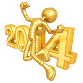 New Year 2014 Gold robot — Stock Photo