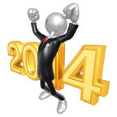 New Year 2014 Gold businessman — Stock Photo