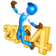 Stock Photo: New Year 2014 Gold constructor