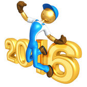 Happy new year golden  constructor 2016 — Stock Photo
