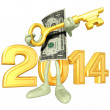 New Year 2014 Gold dollar — Stock Photo