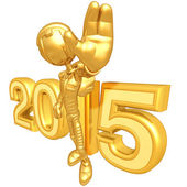 Happy new year golden robot 2015 — Stock Photo