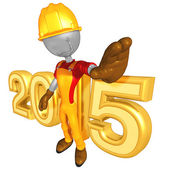 Happy new year golden constructor  2015 — Stock Photo