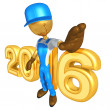 Stock Photo: Happy new year golden  constructor 2016