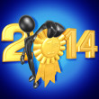 Stock Photo: New Year 2014 Gold medal