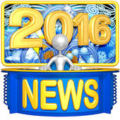Happy new year golden news 2016 — Stock Photo