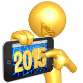 Happy new year golden phone 2015 — Stock Photo