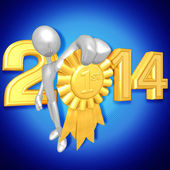 New Year 2014 Gold medal — Stock Photo