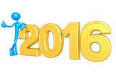 Happy new year golden 2016 — Stock Photo