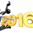 Stock Photo: Happy new year golden 2016