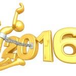 Happy new year golden 2016 — Stock Photo #41580809