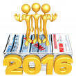 Stock Photo: Happy new year golden business 2016