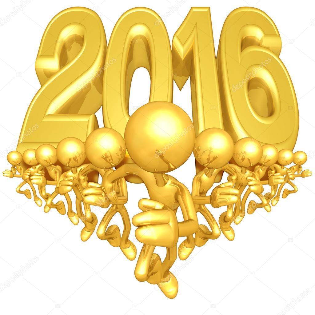 Happy new year golden 2016 — Stock Photo © LuMaxArt #41581169