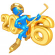 Happy new year golden hockey 2016 — Stock Photo #41647527