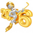 Stock Photo: Happy new year golden hockey 2016