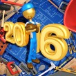 Happy new year golden constructor  2016 — Stock Photo #41648001