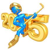 Happy new year golden hockey 2015 — Stock Photo