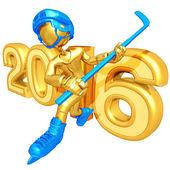 Happy new year golden hockey 2016 — Stock Photo