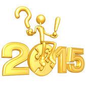 Happy new year golden puzzle 2015 — Stock Photo