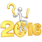 Happy new year golden puzzle 2016 — Stock Photo