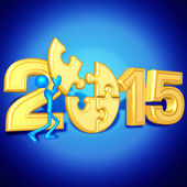 Happy new year golden puzzle 2015 — Stock Photo