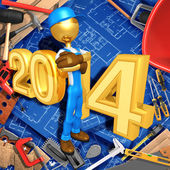 New Year 2014 Gold constructor — Stock Photo