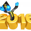 Stock Photo: Happy new year golden study 2016