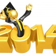 Stock Photo: New Year 2014 Gold study