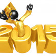 Stock Photo: Happy new year golden study 2015