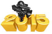 Happy new year golden camera 2015 — Stock Photo