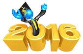 Happy new year golden study 2016 — Stock Photo