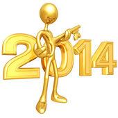 New Year 2014 Gold key — Stock Photo