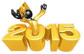 Happy new year golden study 2015 — Stock Photo