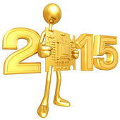 Happy new year golden chip  2015 — Stock Photo
