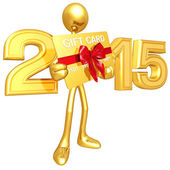 Happy new year golden  credit card 2015 — Stock Photo