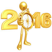 Happy new year golden compass 2016 — Stock Photo
