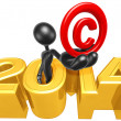 Holding Copyright, 2014 Year — Stock Photo
