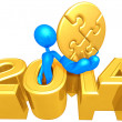 Gold Puzzle, 2014 Year — Stock Photo