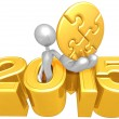 Gold Puzzle, 2015 Year — Stock Photo