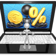 Euro and Percentage on Laptop — Stock Photo