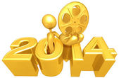 Gold Film Reel,  2014 Year — Stockfoto