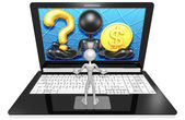 Question and dollar On Laptop — Stock Photo