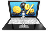 Dollar  and Percentage Symbol on Laptop — Foto Stock