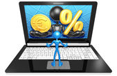 Euro  and Percentage on Laptop — Foto Stock