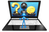 Question and euro  on Laptop — Stock Photo
