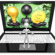 Light Bulb and dollar on Laptop — Stockfoto