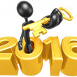 Gold Key Coming Out Of The 2016 Year — Stock Photo #42265625