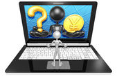 Question and yen on Laptop — Stock Photo