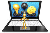 Light Bulb and dollar on Laptop — Stock Photo